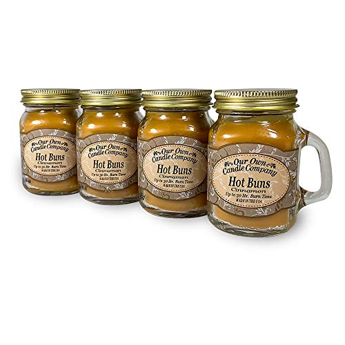 Our Own Candle Company Cinnamon Hot Buns Scented Mini Mason Jar Candle by, 3.5 Ounce (4 Pack)