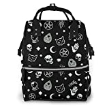 Colorful Skull Cat Moon Gothic Pattern Diaper Bag Backpack Multifunction Travel Back Pack Maternity Baby Nappy Changing Bags