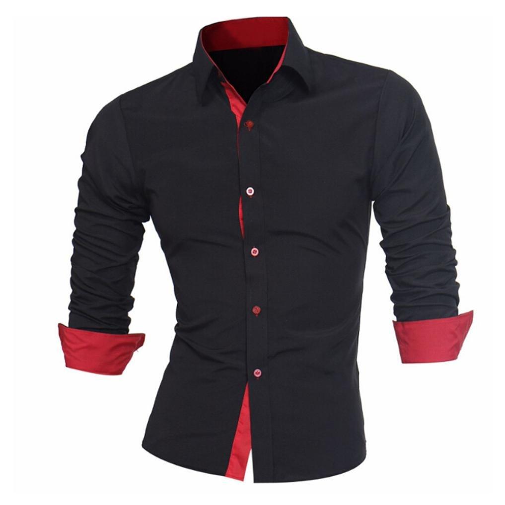 Camisas hombre Auto-cultivo de los hombres costura mangas largas camisa-Tops estilo de otoño,YanHoo® Mens Casual manga larga camisa negocio Slim Fit Camisas de color puro blusa (Negro, L): Amazon.es: Iluminación
