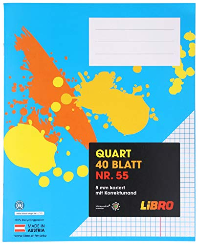 LiBRO Schulheft Heft Vokabelheft Blau Quart 5mm kariert mit Korrekturrand 40 Blatt