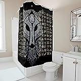 Born for-Anime Viking Muster bedruckter Duschvorhang Frische-Rostbeständige Badewannenvorhänge mit Ringen – für Zuhause Dekoration, Weiß19, 180x200cm