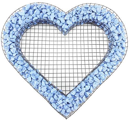 Gartenwelt Riegelsberger Herz Gitter mit bunten Steinen Azzurro für Allerheiligen Grabschmuck Herz-Gitter Grabgestaltung Grabdeko Pflanzschale Herzgitter
