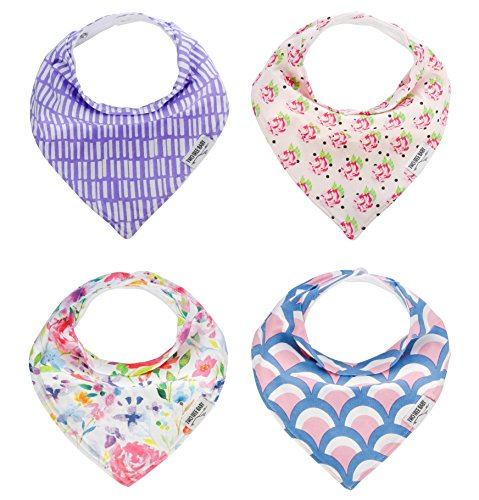Baby Bandana Drool Bibs, Girl 4-PACK Absorbent Organic Cotton, Modern Baby Gift Set 'GARDEN' by Two Tree Baby