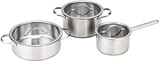 COSTWAY Batería de Cocina Juego de 3 Piezas de Ollas de Acero Inoxidable con Tapa de Vidrio Cacerola con Asa