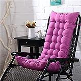 [page_title]-KTOL Hochlehner-Auflage Stuhlauflagen Sitzkissen, Terrasse Gartenstuhlauflage Verdicken Sie Stuhlkissen Sitzauflage Sessel Deckchair Liege Pad Mat 100% Perlenbaumwolle-pink Lila 125x48x8cm
