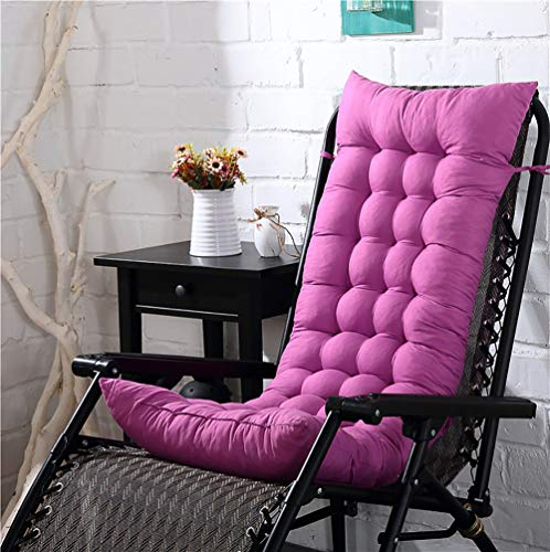 KTOL Hochlehner-Auflage Stuhlauflagen Sitzkissen, Terrasse Gartenstuhlauflage Verdicken Sie Stuhlkissen Sitzauflage Sessel Deckchair Liege Pad Mat 100% Perlenbaumwolle-pink Lila 110x40x8cm