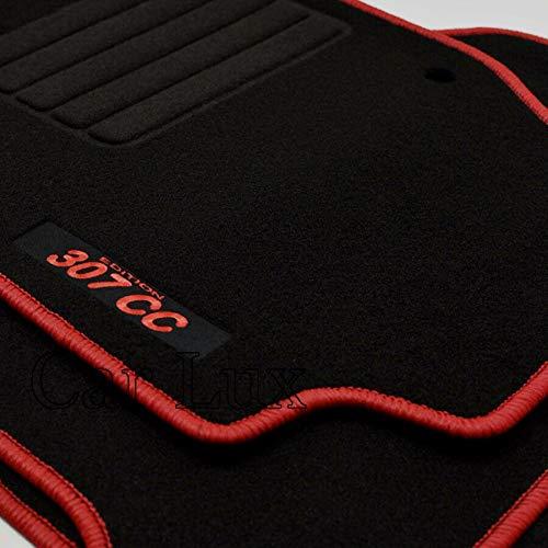 Car Lux AR02617 Tapis de voiture en velours avec bordure rouge pour 307 cc 307 CC