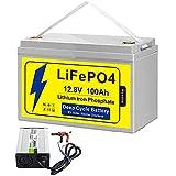 Kcvolro LifePo4 - Batería de 12 V 100 Ah hasta 7000 ciclos profundos, BMS integrado, batería de fosfato de hierro de litio, perfecta para motores de arrastre, solares, paneles, RV, botes de graves, carritos de golf con cargador de 14,6 V 10 A