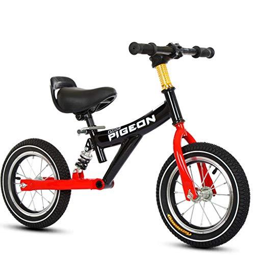 ZAQ Prima Bicicletta Bici Senza Pedali Bicicletta Specialized Sport Balance Bike - Ruote da 12 Pollici No Pedals Training Bikes per 1/2/3/4/5/6 Anni, Nero/Blu/Rosa (Colore : Nero)