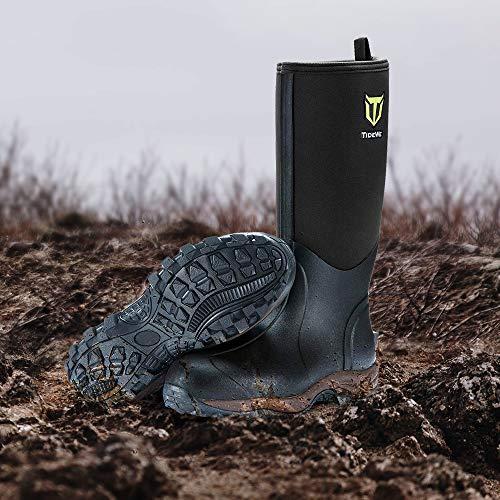 TIDEWE Rubber Neoprene Boots Men and Women, Waterproof Durable 6mm Neoprene Boot, Rain Boot Muck Hunting Boot Arctic Outdoor Boot Men Size 14 Black (Ger Ⅱ)