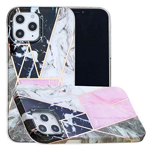 Miagon Marmor Hülle für iPhone 12,Dünn Weich Silikon Flexible Handyhülle Schutzhülle Galvanisiert Marble Bumper Handytasche Zurück Cover Gummi,Schwarz Rosa