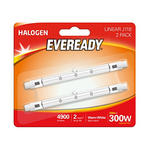 Eveready–Lampadina alogena 230W (W equivalente) lampadina lineare, confezione da 2, R7s, 300W