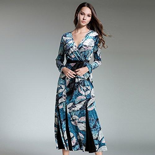 GX Le Velours pour Robe tempéraHommest mode, européens et américains col Robeing Robe