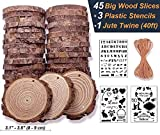Premium Wood Slices 45 Pcs 3.1''-3.5'' Unfinished Wood Rounds Natural Thick Slab with Bark for Coasters Centerpieces Wedding Rustic Craft Wooden Ornaments Wood Burning Kit Crates Painting Craft Kits