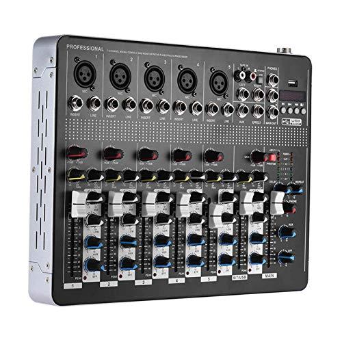 Summina Profesional de 7 Canales Mic Line Audio Mixer Mesa de Mezclas con 3 Bandas de Interfaz USB EQ 48V Phantom Power
