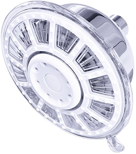 Utopia Home Luxury Chrome LED Shower Head - High Pressure - 3 Color Changing Water Temperature Sensor - No Batteries Required - Wall Mounted - Small LED (1)