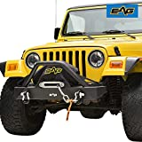 EAG Front Bumper with D-Rings and Winch Plate Fit for 87-06 Wrangler TJ YJ