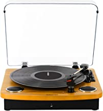 Record Player,JOPOSTAR Bluetooth Turntable 3-Speed Belt Driven with Built-in Stereo Speakers, Aux Input & RCA Output, Natural Wood