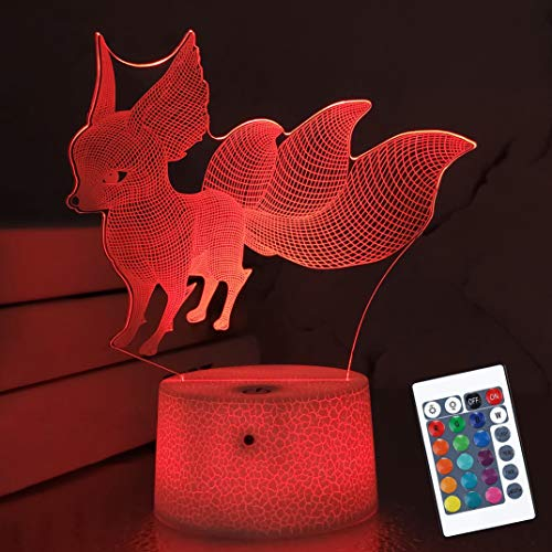 Fox 3D Lamp Night Light 3D Illusion lamp for Kids, 16 Colors Changing with Remote, Kids Bedroom Decor as Xmas Holiday Birthday Gifts for Boys Girls