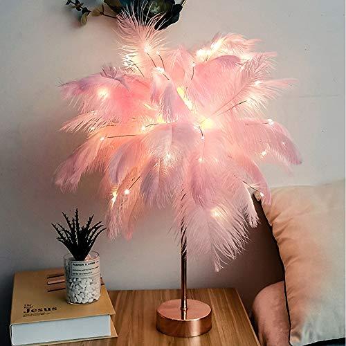 Guling Feather Tischlampe, LED Nachtlampe Feather Lampenschirm Nachttischleuchten mit Fernbedienung USB & Batterie Dual Use Schreibtischlampe für Schlafzimmer Hochzeit dekoratives Geschenk Rosa