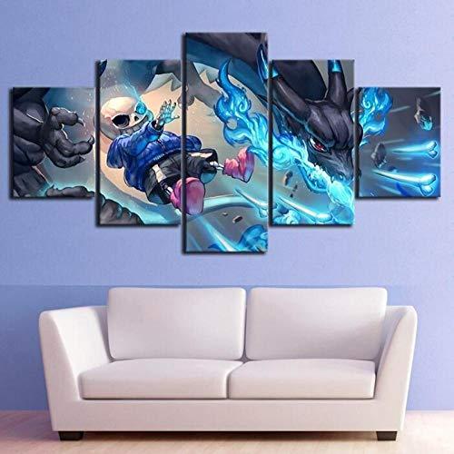 ZKPWLHS Canvas Prints 5 Panel Undertale Speel Afbeeldingen muurkunst Poster voor Jongenkamer Decoratie Schilderen [Maat B] frameloos