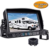 Xroose Backup Camera Kit, 7' Touch Button Recorder Monitor + 1080P FHD DVR Rear Side View Cam for RV Travel Trailer Truck Motorhome Camper Pickup Van, Waterproof IR Rearview Automotive Back Up System