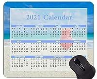 カラフルな2021年カレンダーマウスパッド、カクテルドリンクマウスパッドのクローズアップ