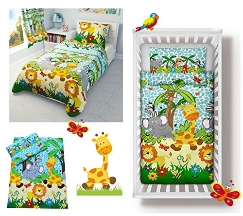 Nursery Baby Bedding Set for cot Bed 70x140 cm 4-Piece incl Duvet + Pillow + Duvet Cover + Pillowcase Blue Jungle Safari Animals (100x135 cm)