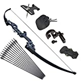 Tongtu Archery Takedown Recurve Bow and Arrows for Adults Set 30 40 lbs Aluminum Alloy Riser Hunting Archery Longbow kit Right Hand (40lbs)
