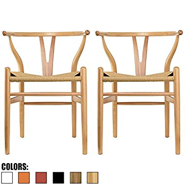 2xhome Set of Two (2) - Natural - Wishbone Wood Arm Chair Armchair Modern Natural with Natural Woven Seat Dining Room Chair