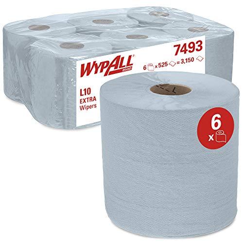 WypAll Paños L10 EXTRA 7493, 6 Rollos de 525 Hojas (3150 en total), Toallas de Papel Industriales, Airflex, Color: Azul, 07493020