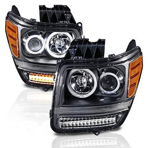 AmeriLite Black LED Turn Signal Dual Halo Projector Replacement Headlights Set for 07-12 Dodge Nitro - Passenger and Driver Side