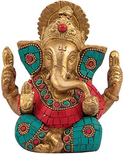 Modfash Ganesh Bhagwan Idol Ganesha Statue Ganpati Murti für den Eingangsbereich, Dekor, Diwali, Geschenkdekoration, mit buntem Stein