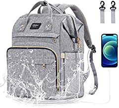 Diaper Bag Backpack, Xinsilu Nappy Bag Bags for Mom and Dad Diaper Bag with USB Charging Port Stroller Straps Thermal Pockets,Water Resistant, Gray
