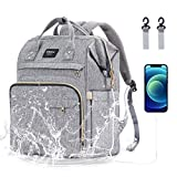Diaper Bag Backpack Nappy Bags for Mom and Dad Diaper Bag with USB Charging Port Stroller Straps Thermal Pockets,Water Resistant, Gray
