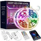 Beaeet Striscia LED 15 Metri,Strisce LED RGB Colorati con Controller Bluetooth Musica Sinc...
