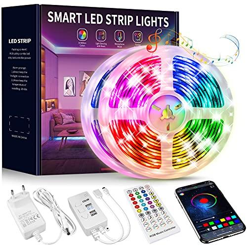 Tiras LED 15 Metros, Beaeet Luces LED 5050 RGB Tira LED con Control Remoto de 40 Botones, Sincronización de música Bluetooth, LED Strip Light para Habitacion, Sala, Comedor, Cocina