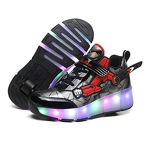 MNVOA USB Automática Ruedas Ajustables LED Zapatillas con Luces Ruedas Color Deporte Zapatos de Skate Roller Deportivos Zapatos Trainers Monopatín Sneaker para Niños Niñas,Black 1 Wheel,37EU