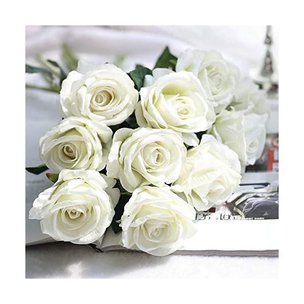 Louiesya Artificial Flowers Fake Flowers Bouquet Silk Roses Real Touch Bridal Wedding Bouquet for Home Garden Party Floral Decor 6 Pcs