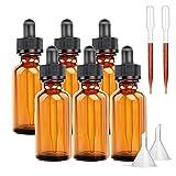 Bernsteinfarbene Glasflaschen mit Pipette (10 ml, 6 Stück) für ätherische Öle, Colognes & Parfums, Beauty-Öl-Mix