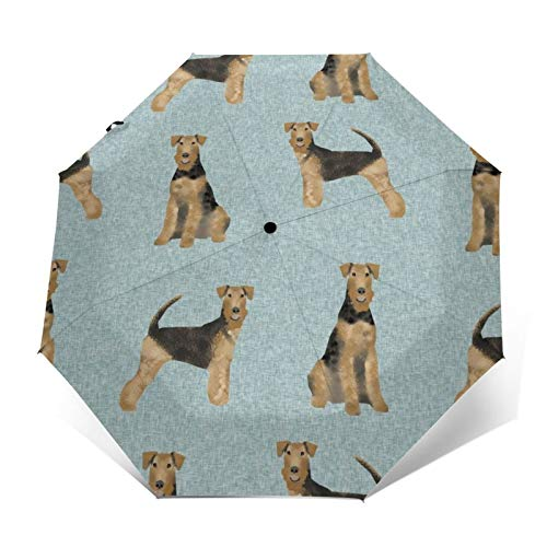 Airedale Terrier Hundedecke B Steppdecke Koordinaten Hund Winddicht Regenschirm Faltbarer Regenschirm Wasserdicht Automatisch Dreifach Faltbarer Regenschirm Leicht Kompakt Reise Regenschirm