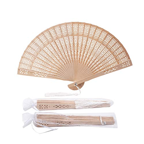 Sepwedd set of 50pcs Sandalwood Fan Baby Shower Gifts Favors with gift bags and tassels wooden folding fan