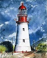 DIY油絵キット子供と大人のための数字キットによるペイント-灯台40x50cmフレームなし