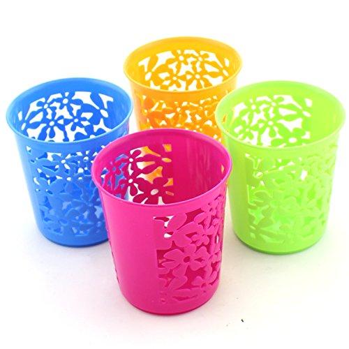 Zicome Set of 4 Desktop Office Storage Organizer - Creative Round Hollow Flower Design Pen Pencil Holder Organizer Basket in 4 Bright Colors (Round)