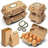 Cajas de huevos premium – Juego completo de contenedor de huevos de cartón para almacenar 108 huevos frescos con bolsa de papel y etiquetas adhesivas – Soporte ecológico y reutilizable para huevos