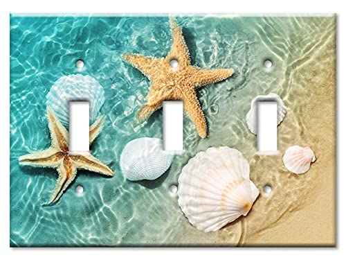 Art Plates - Triple Gang Toggle Switch/Wall Plate - Sea Shells and Star Fish in Ocean Beach Tide Pool