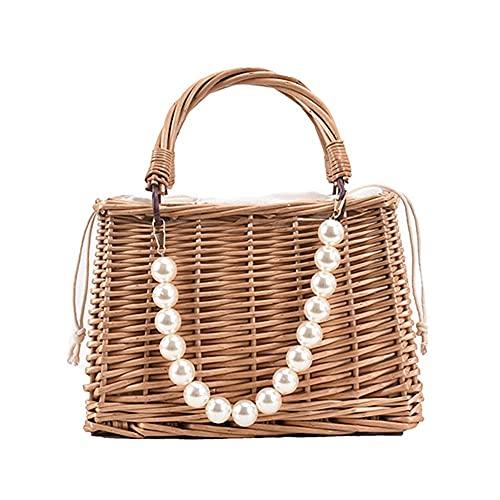 Bolsos de paja de playa vintage mujeres verano bolso de rota bolsas playa perla mini cesta bolso