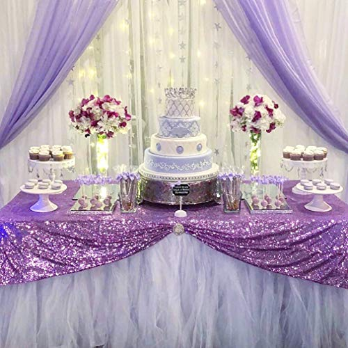 B-COOL Lilac Sparkle Tablecloth Wedding Glitter Tablecloths Table Decorations 50x80Inch Wedding Tablecloths Cake Table Party Cover for Anniversaries Any Festival