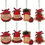 Queta 8PCS Adornos Colgantes para árboles de Navidad, Mini calcetín de Navidad de Lino, Decoraciones para árboles de Navidad, 4 Estilo de Bolas/Calcetines/Campanas/Árboles de Navidad