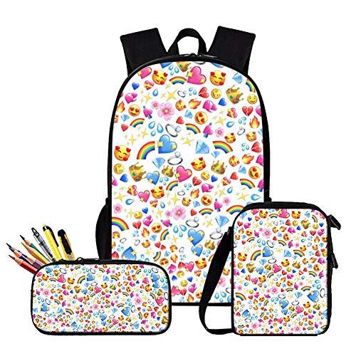 Children's Backpack 3 Piece Set 3D Printed Emoji Children's School Backpack + Lunch Bag + Kit - Seasonal School Gifts G-16 inches